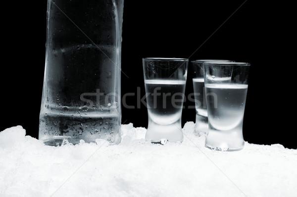 Fles wodka bril permanente ijs zwarte Stockfoto © dla4
