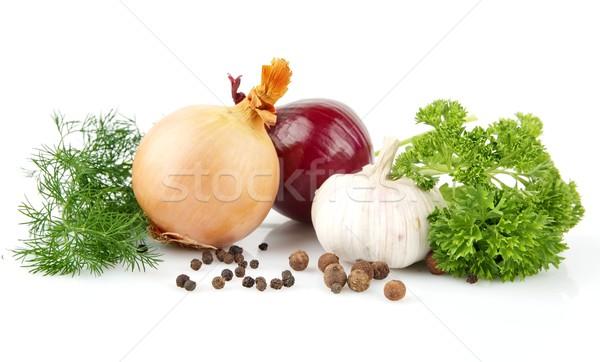 Izolált fehér feketebors háttér zöldségek zöldség Stock fotó © dla4