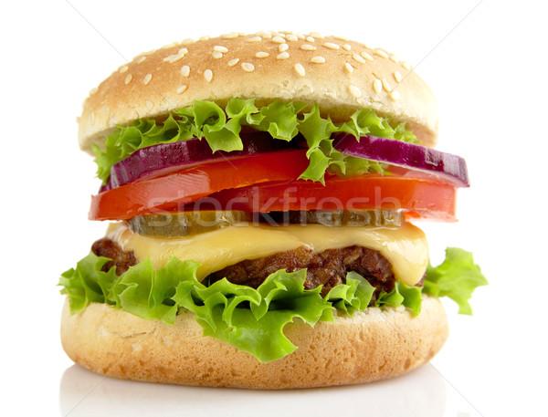 Grande hamburguesa con queso aislado blanco alimentos ensalada Foto stock © dla4