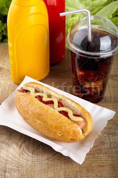Stock fotó: Hotdog · ketchup · mustár · kóla · fából · készült · palánk