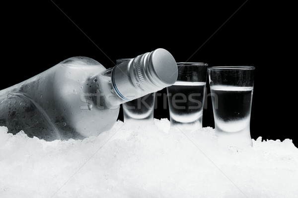 Bottle of vodka with glasses standing on ice on black background Stock photo © dla4