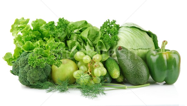 Ingesteld groene groenten vruchten groep witte Stockfoto © dla4