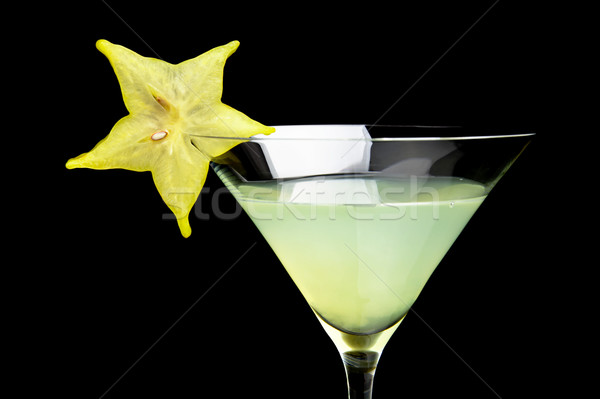 Cropped view of cosmo margarita drink on black Stock photo © dla4