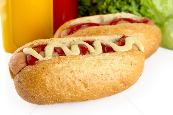 Caldo cani ketchup lattuga insalata alimentare Foto d'archivio © dla4