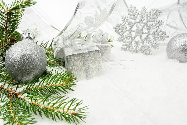 Plata Navidad cinta decoración nieve árbol de navidad Foto stock © dla4