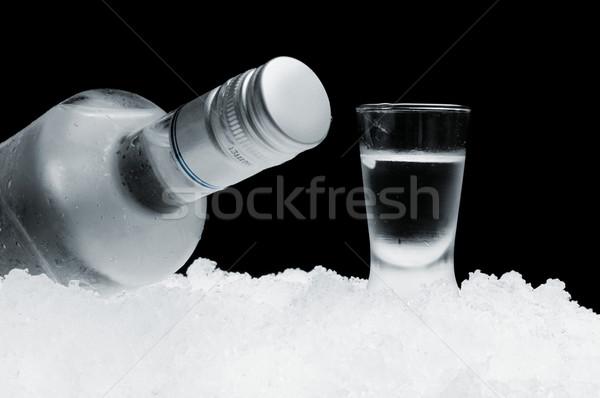 Bouteille verre vodka glace noir Photo stock © dla4