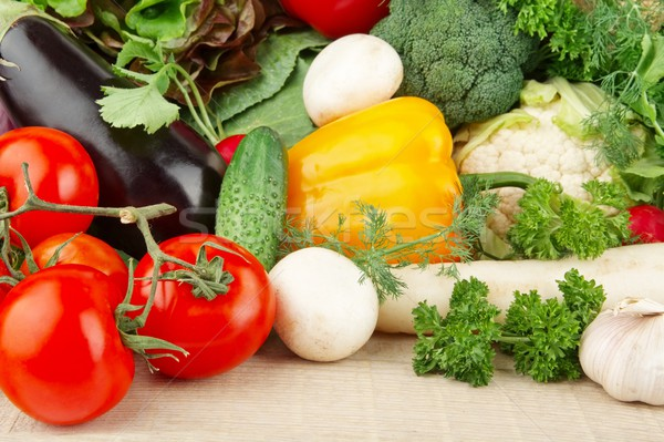 Group of different vegetables on wooden board Stock photo © dla4