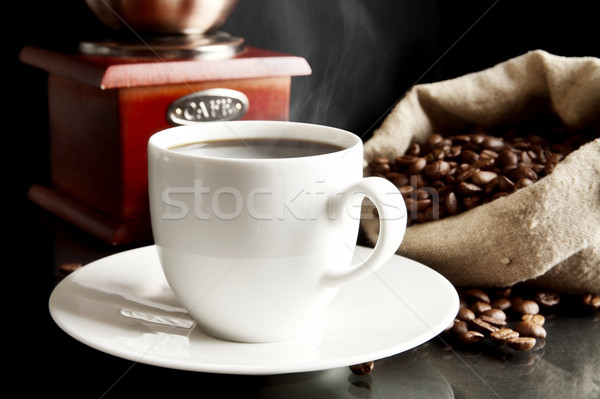 Taza café completo granos de café negro bolsa Foto stock © dla4