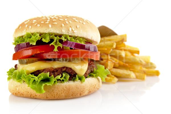 Grande cheeseburger isolado branco papel Foto stock © dla4