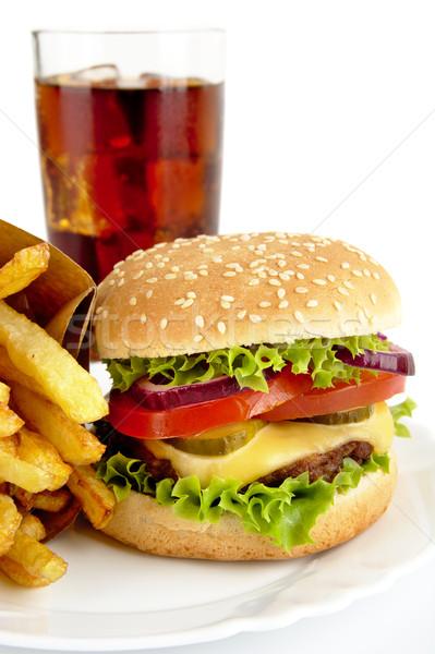 Image Cola coupé grand cheeseburger frites françaises Photo stock © dla4