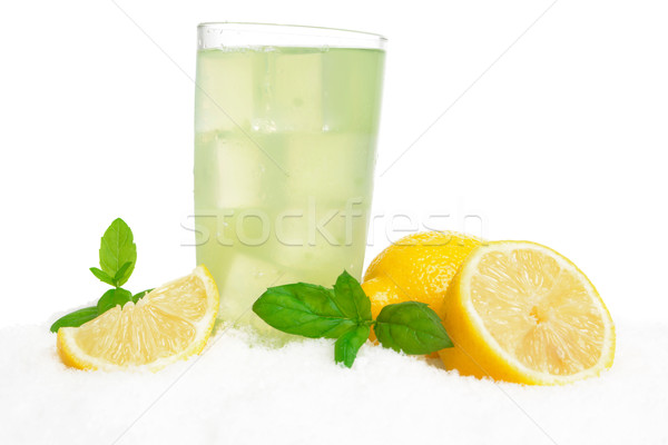 Glas citroen sneeuw witte voedsel Stockfoto © dla4