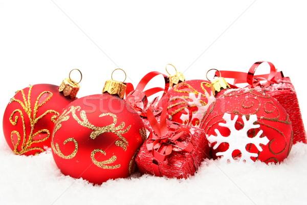 Vermelho natal decoração neve presentes branco Foto stock © dla4
