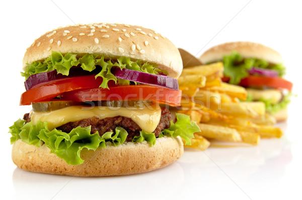 Grand frites françaises isolé blanche deux alimentaire Photo stock © dla4