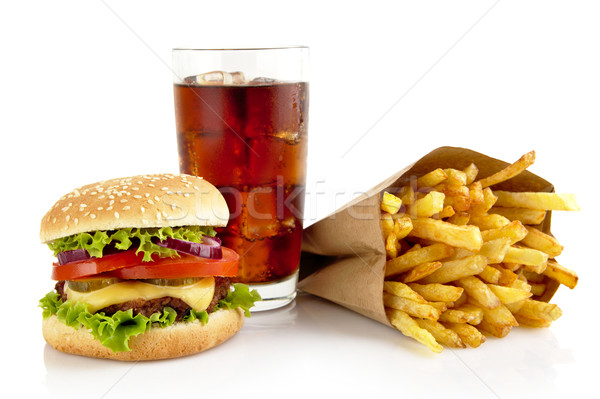 большой чизбургер стекла Cola картофель фри изолированный Сток-фото © dla4