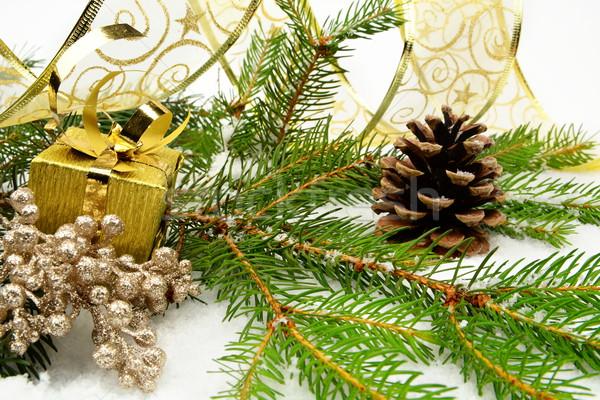 Stok fotoğraf: Altın · Noel · hediyeler · şerit · iğneler