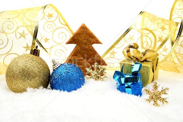 Dorado azul Navidad decoración nieve cookie Foto stock © dla4