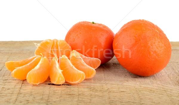 Peças isolado mesa de madeira branco fruto Foto stock © dla4