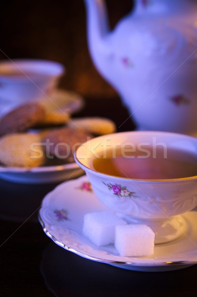 Ketel twee thee cookies zwarte Stockfoto © dla4