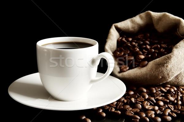 Copo café pires saco grãos de café preto Foto stock © dla4