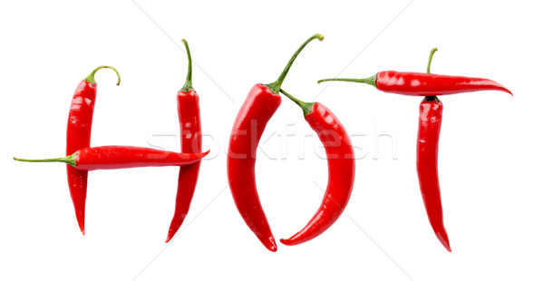 Inscription Hot made from red chilli peppers isolated white Stock photo © dla4
