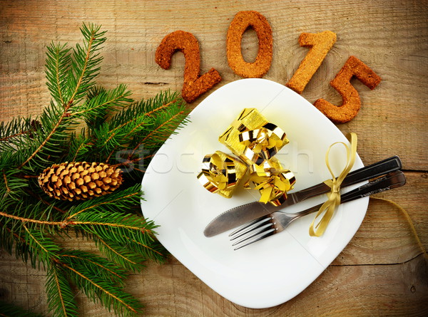 New year's Eve 2015 decoration with gold gifts Stock photo © dla4