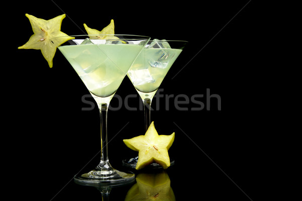 Közelkép kilátás mojito italok fekete kozmopolita Stock fotó © dla4