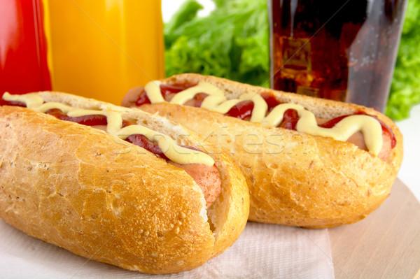 Hotdog fles mosterd ketchup drinken cola Stockfoto © dla4