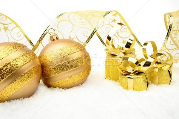 Stok fotoğraf: Altın · Noel · şerit · kar · dekorasyon · arka · plan