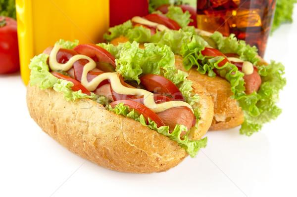 Komkommer witte hot honden salade tomaten Stockfoto © dla4