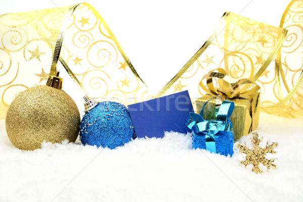 Dourado azul natal decoração neve Foto stock © dla4