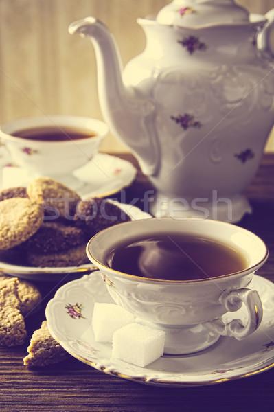 Kép kettő csészék tea klasszikus hatás Stock fotó © dla4