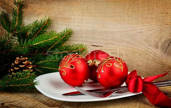 Navidad placa chuchería superficie Foto stock © dla4