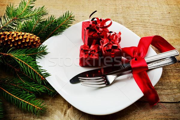 Navidad placa regalos superficie Foto stock © dla4