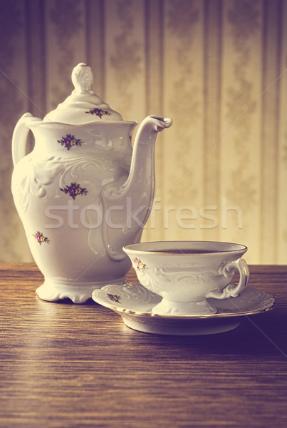 Klasszikus kancsó tea tapéta porcelán csésze Stock fotó © dla4
