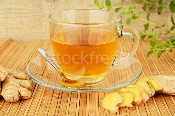 Foto stock: Jengibre · menta · alimentos · mesa · planta