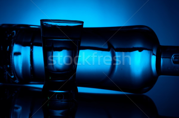 Bottle of vodka lying with glass lit with blue backlight Stock photo © dla4