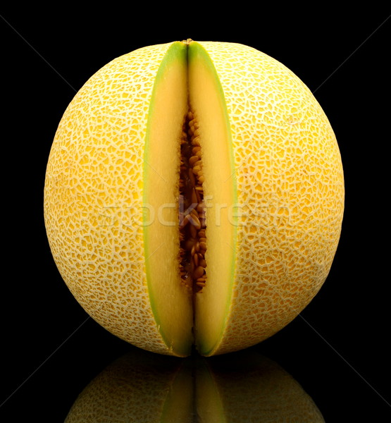 Melon galia notched isolated black in studio Stock photo © dla4