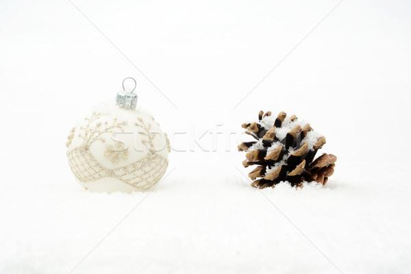 Beyaz Noel önemsiz şey çam koni kar Stok fotoğraf © dla4
