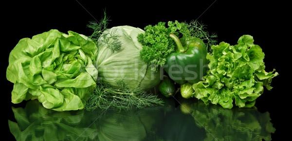 Ayarlamak yeşil siyah yalıtılmış toplama maydanoz Stok fotoğraf © dla4