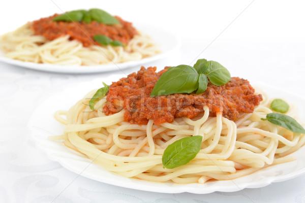 Сток-фото: спагетти · соус · болоньезе · вверх · белый · пасты · пластина