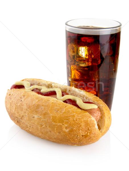 Hot Dog горчица кетчуп изолированный белый Cola Сток-фото © dla4