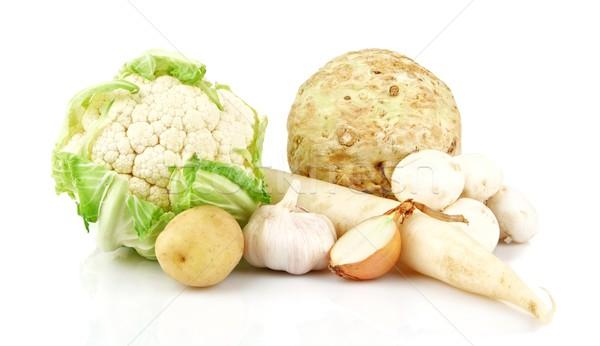 коллекция белый овощей группа зеленый фон Сток-фото © dla4