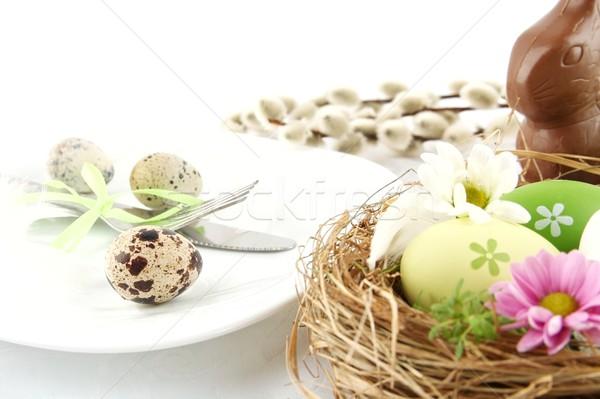 Photo quail eggs,nest with flowers,chocolate hare,catkins Stock photo © dla4