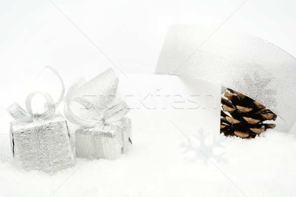Prata natal cartão neve decoração Foto stock © dla4