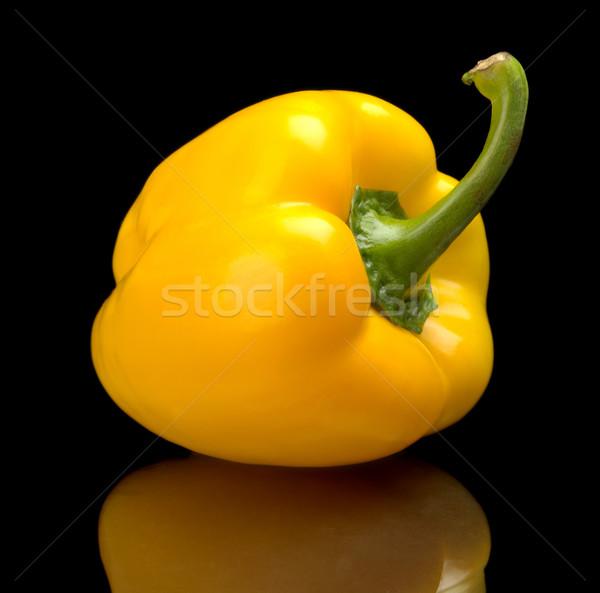 Studio shot of yellow bell pepper isolated black background Stock photo © dla4