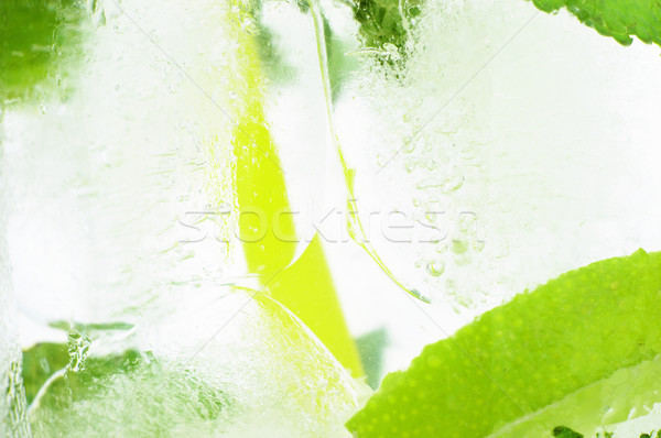 Icy background macro drink ice cubes mint limes Stock photo © dla4