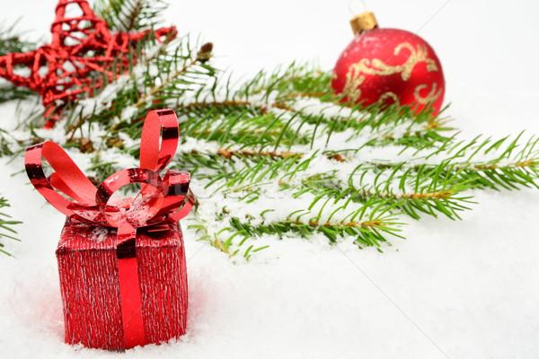 Primer plano vista rojo Navidad chuchería regalos Foto stock © dla4