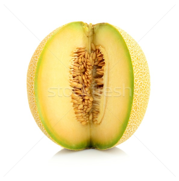 Melon galia notched with seeds isolated white in studio Stock photo © dla4