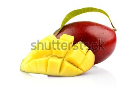 Ripe mango with slice and leaf isolated black background Stock photo © dla4