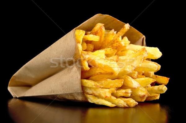 Frytki torby papierowe odizolowany czarny biurko worek Zdjęcia stock © dla4